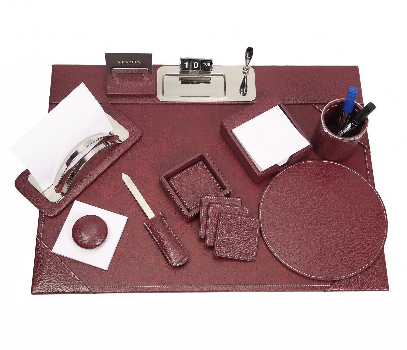 DSK1--8pcs office desk set organizer in Genuine Leather - Wine