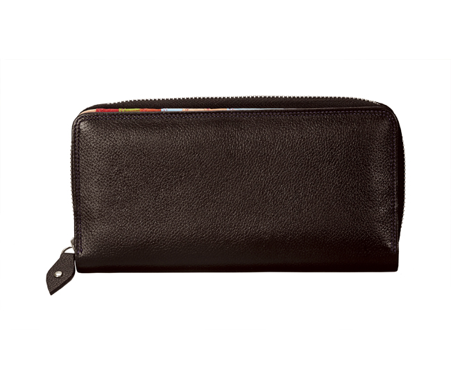 W166-Lillian-Womens's bifold multi coloured wallet in Genuine Leather - Brown.