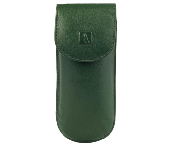 W74--Reading spectacle semi hard case in Genuine Leather - Green
