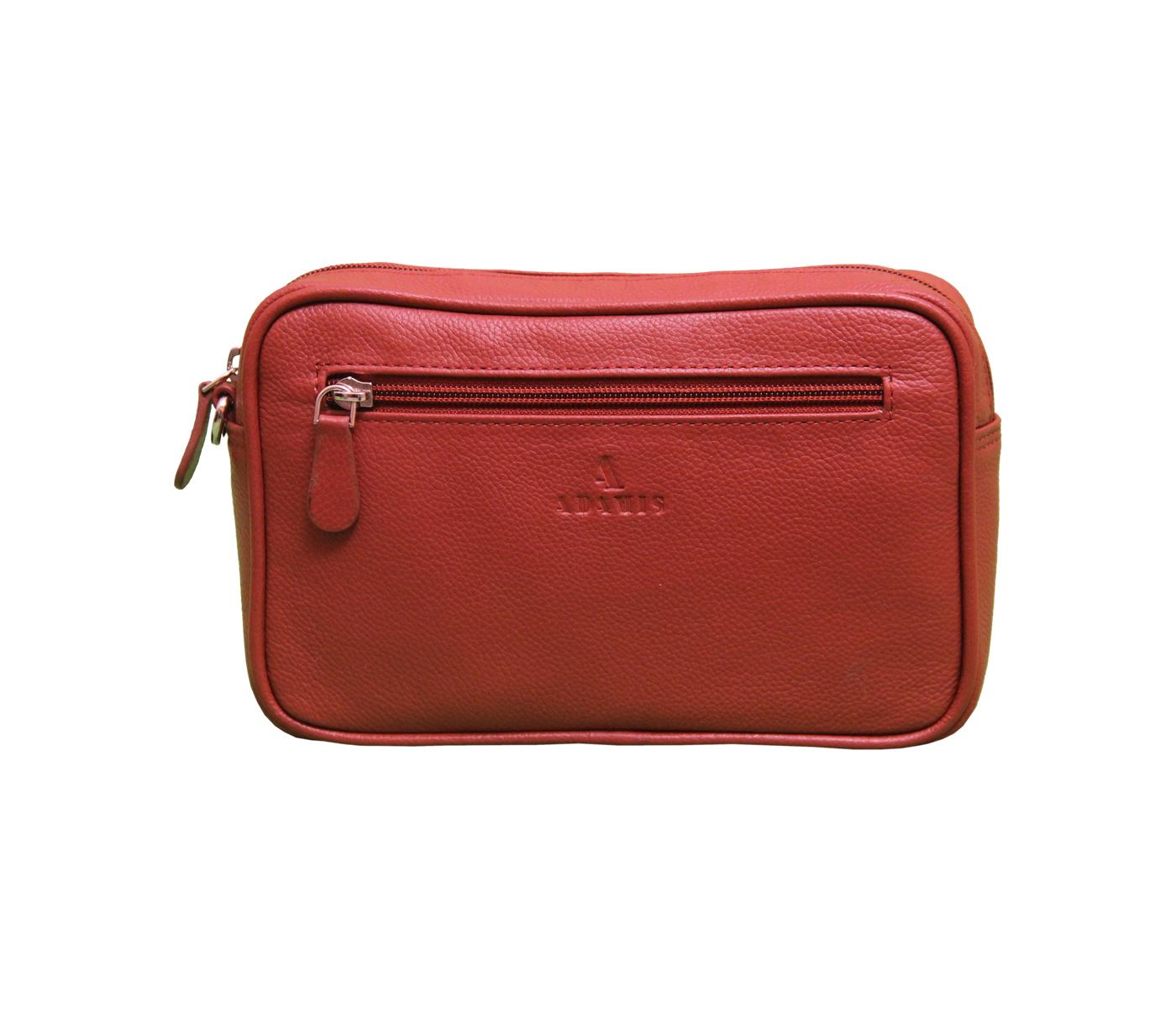 P19-Dierk-Men's bag cum travel pouch in Genuine Leather - Tan