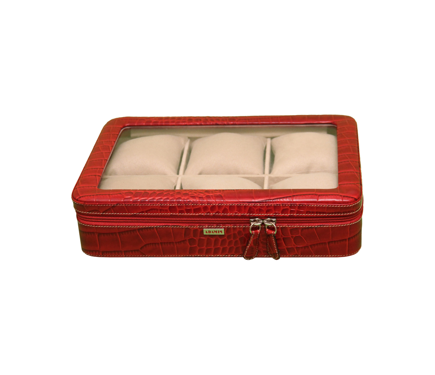 W212--Watch case to hold 6 watches in Genuine Leather - Red
