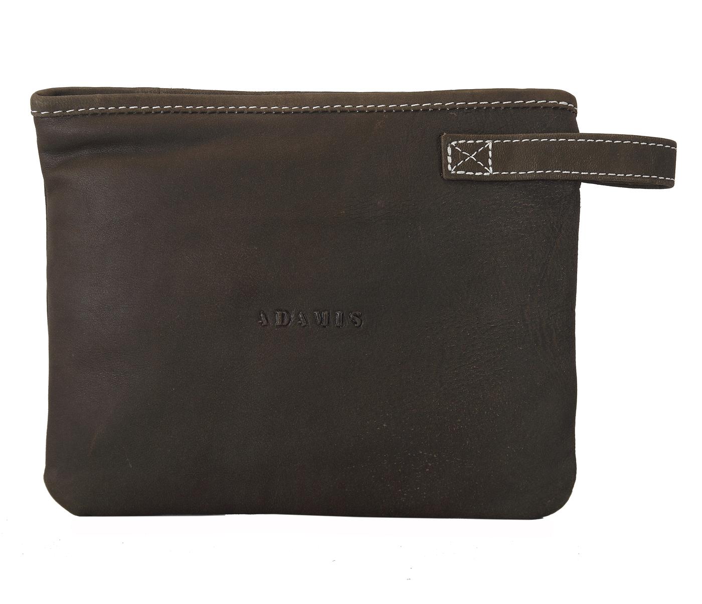 W227--Unisex multi purpose pouch in Genuine Leather - Brown.