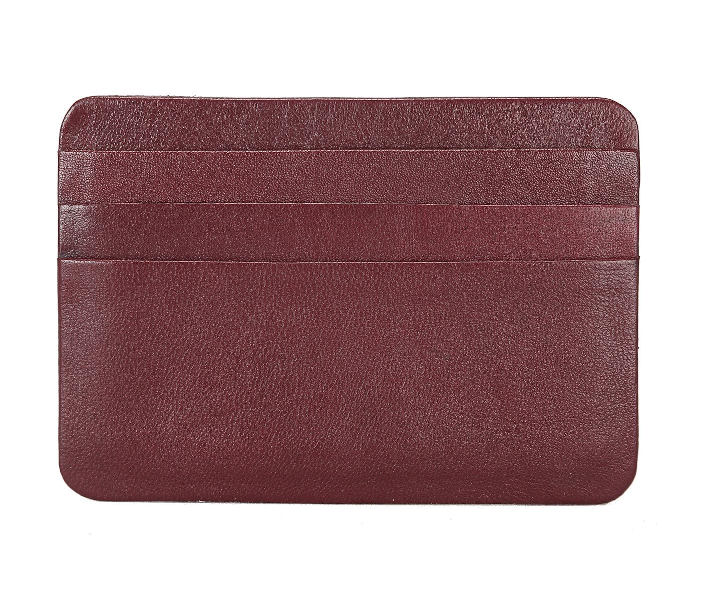 VW8--Ultra Slim card Case in Genuine Leather - Wine