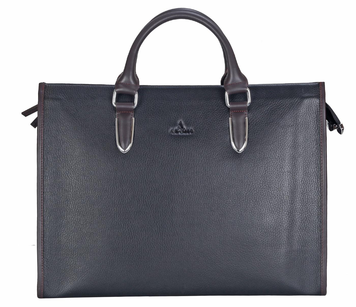 F57-Maxwell-Laptop cum portfolio messenger bag in Genuine Leather - Black/Brown