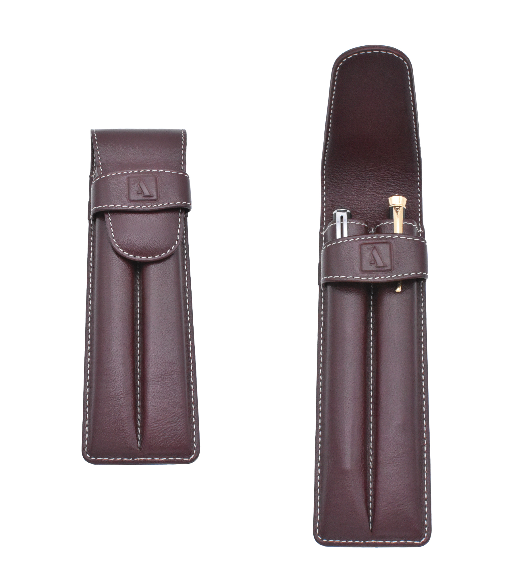 W51--Pen case to carry 2 pens in Genuine Leather - Wine