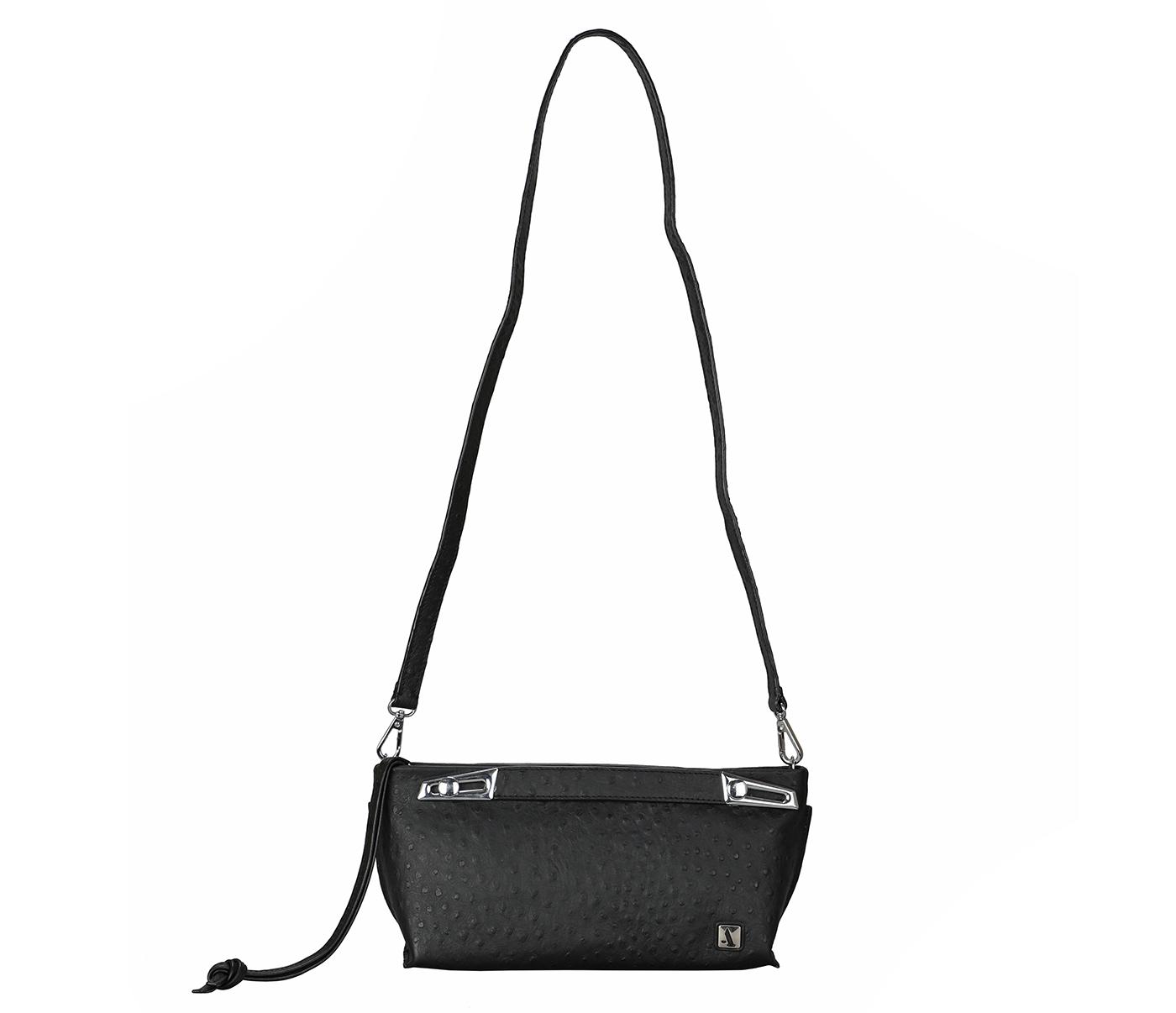 B875-Senobia-Evening Bag in Genuine Leather - Black