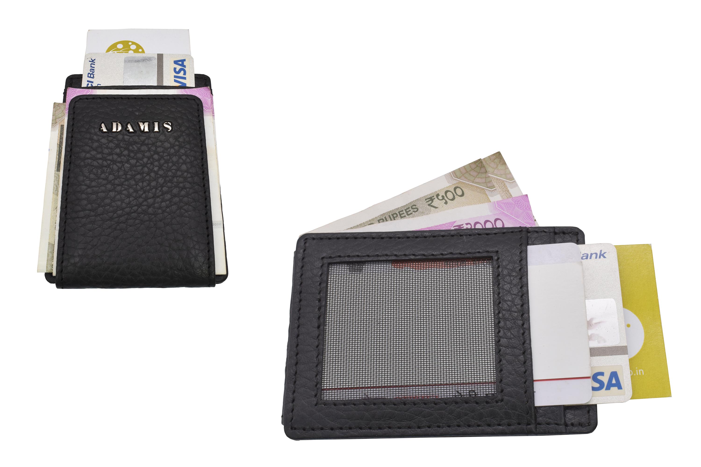 W340--Credit card case in genuine leather - Black