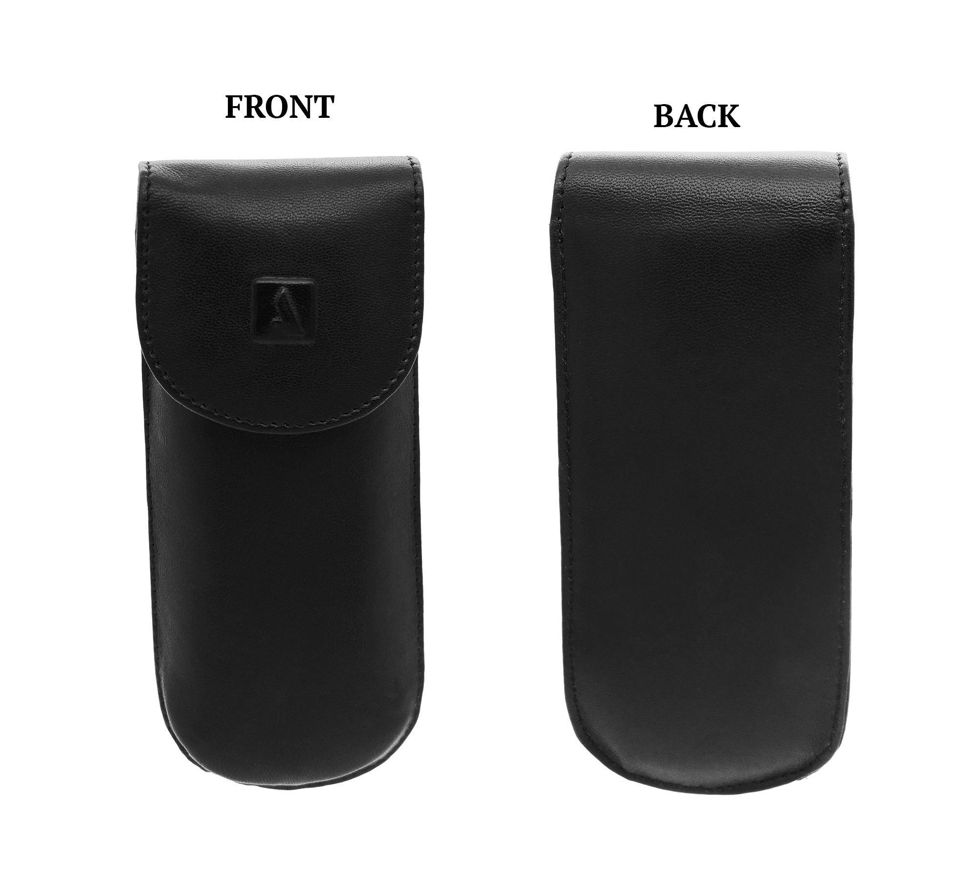 W74--Reading spectacle semi hard case in Genuine Leather - Black