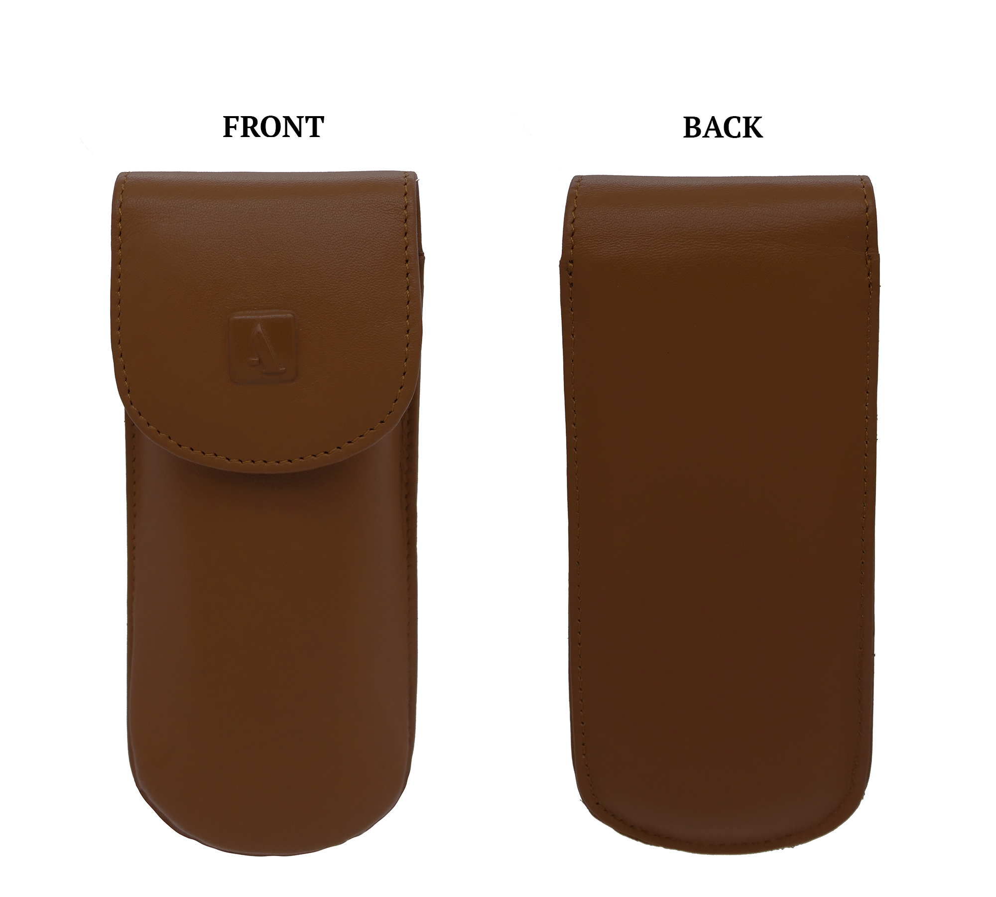 W74--Reading spectacle semi hard case in Genuine Leather - Tan