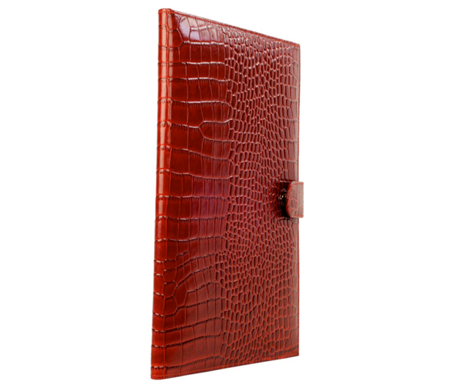 F24-Vasco-Sleek conference folder in Genuine Leather - Red