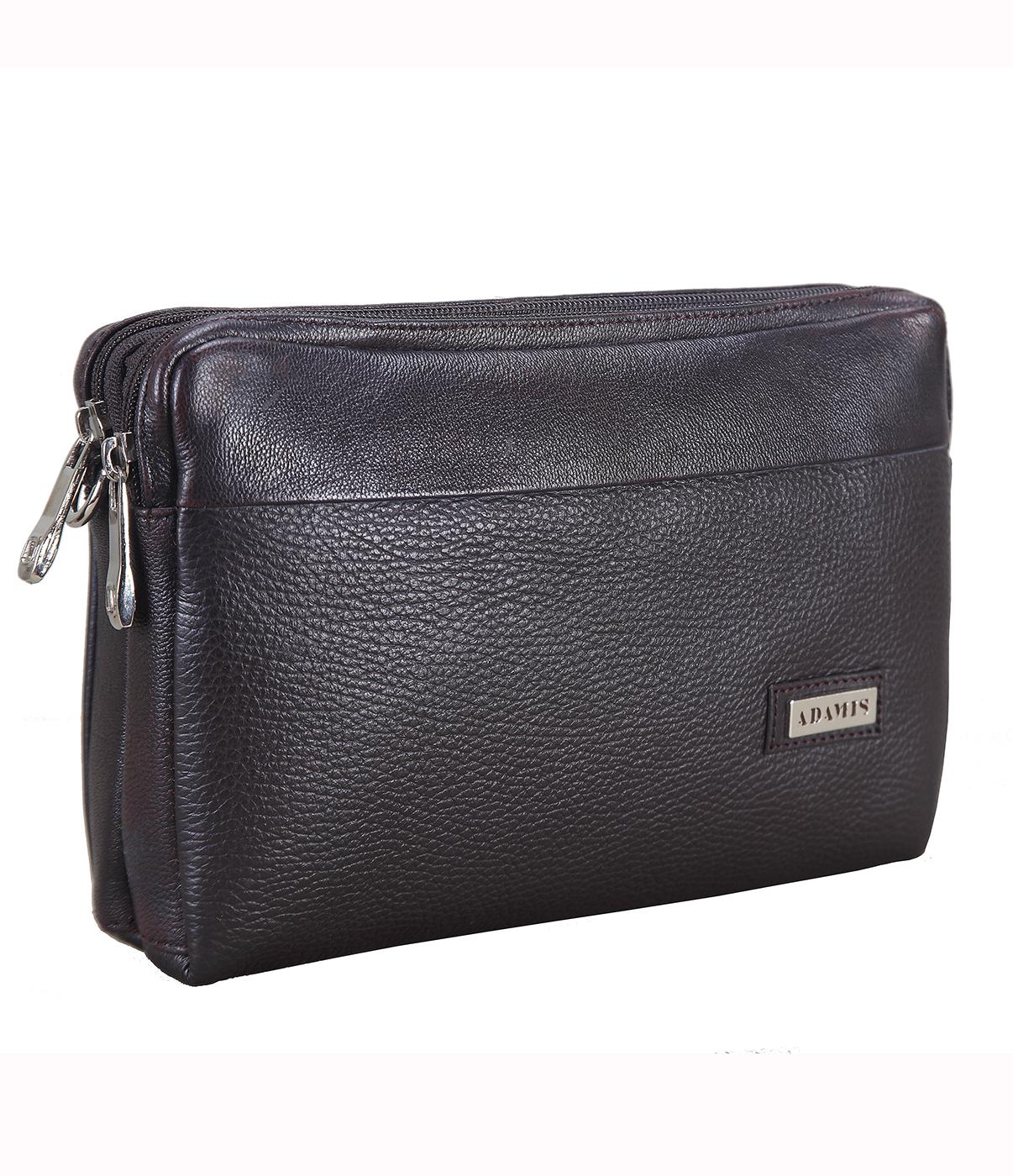 P20-Fernando-Men's bag cum travel pouch in Genuine Leather - Brown