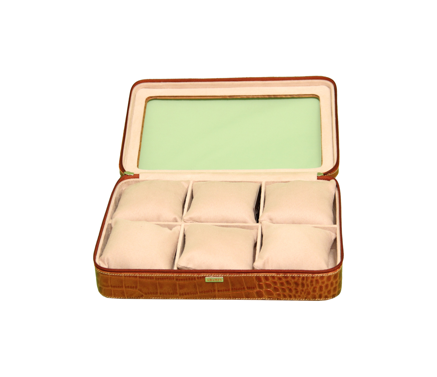 W212--Watch case to hold 6 watches in Genuine Leather - Tan