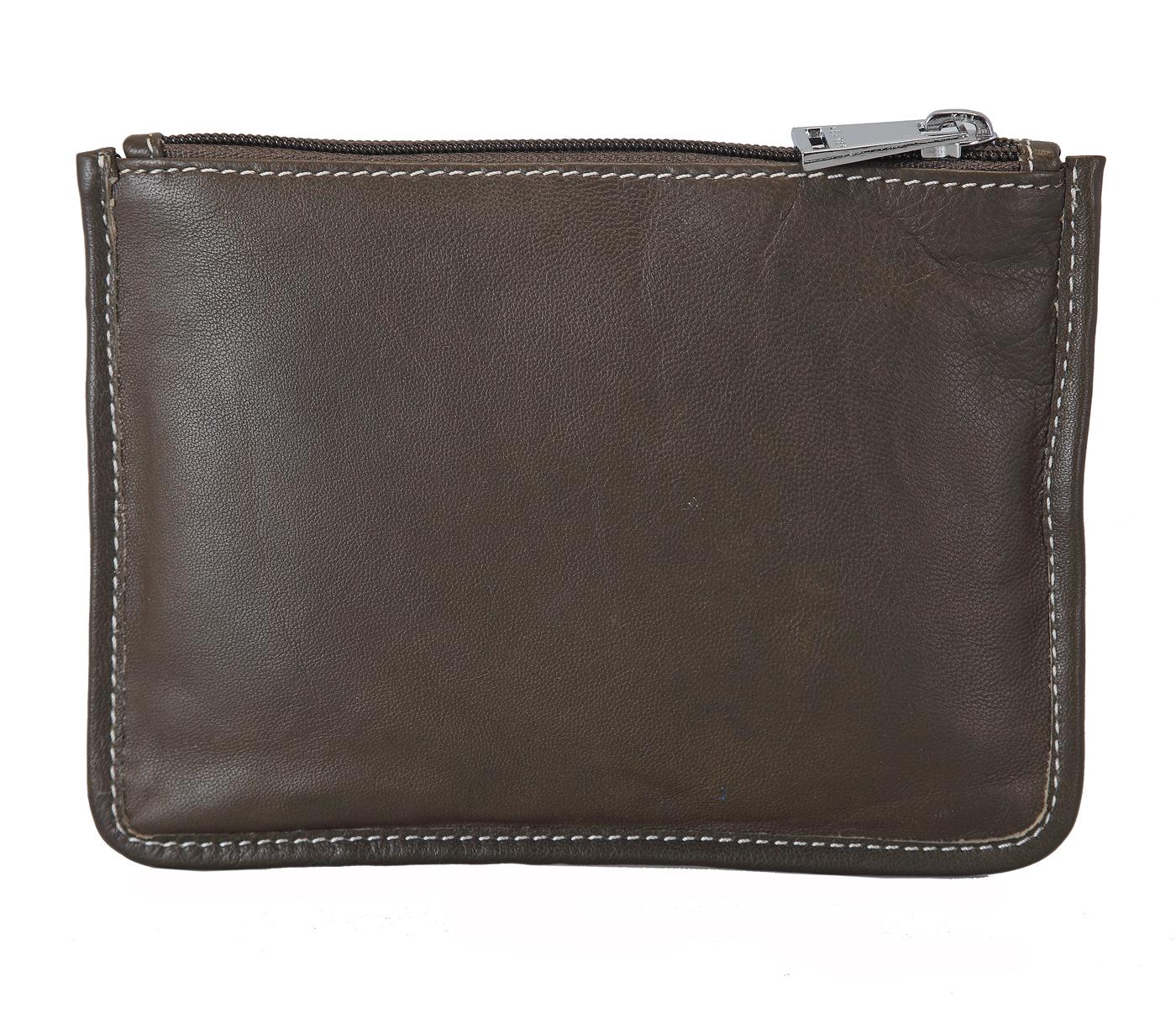 W228--Unisex multi purpose pouch in Genuine Leather - Green