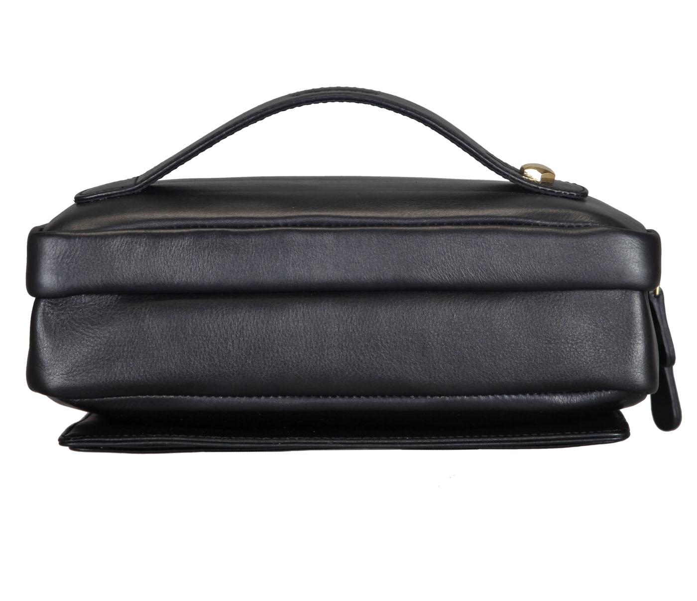 P32-Jesse-Men's bag cum travel pouch in Genuine Leather  - Black