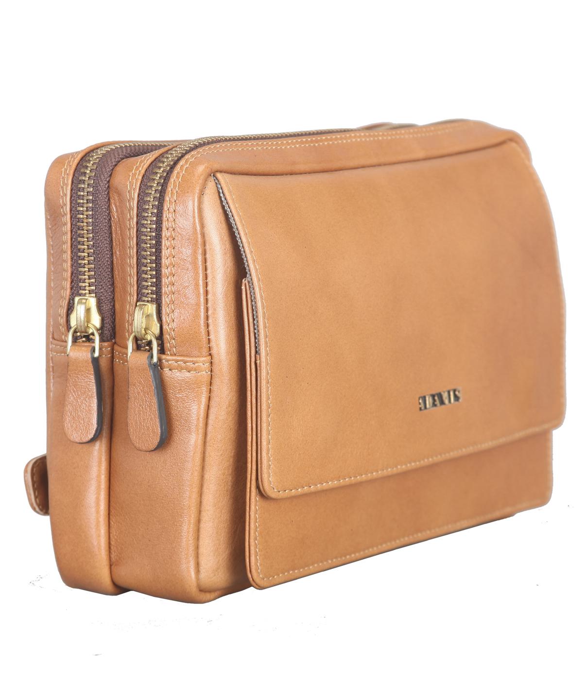 P32-Jesse-Men's bag cum travel pouch in Genuine Leather  - Tan