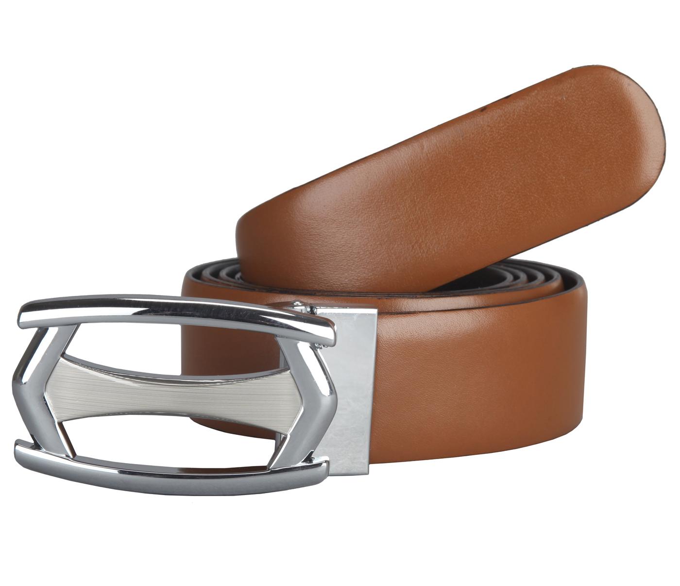 BL137--Men's reversible belt in Genuine Leather - Black/Tan