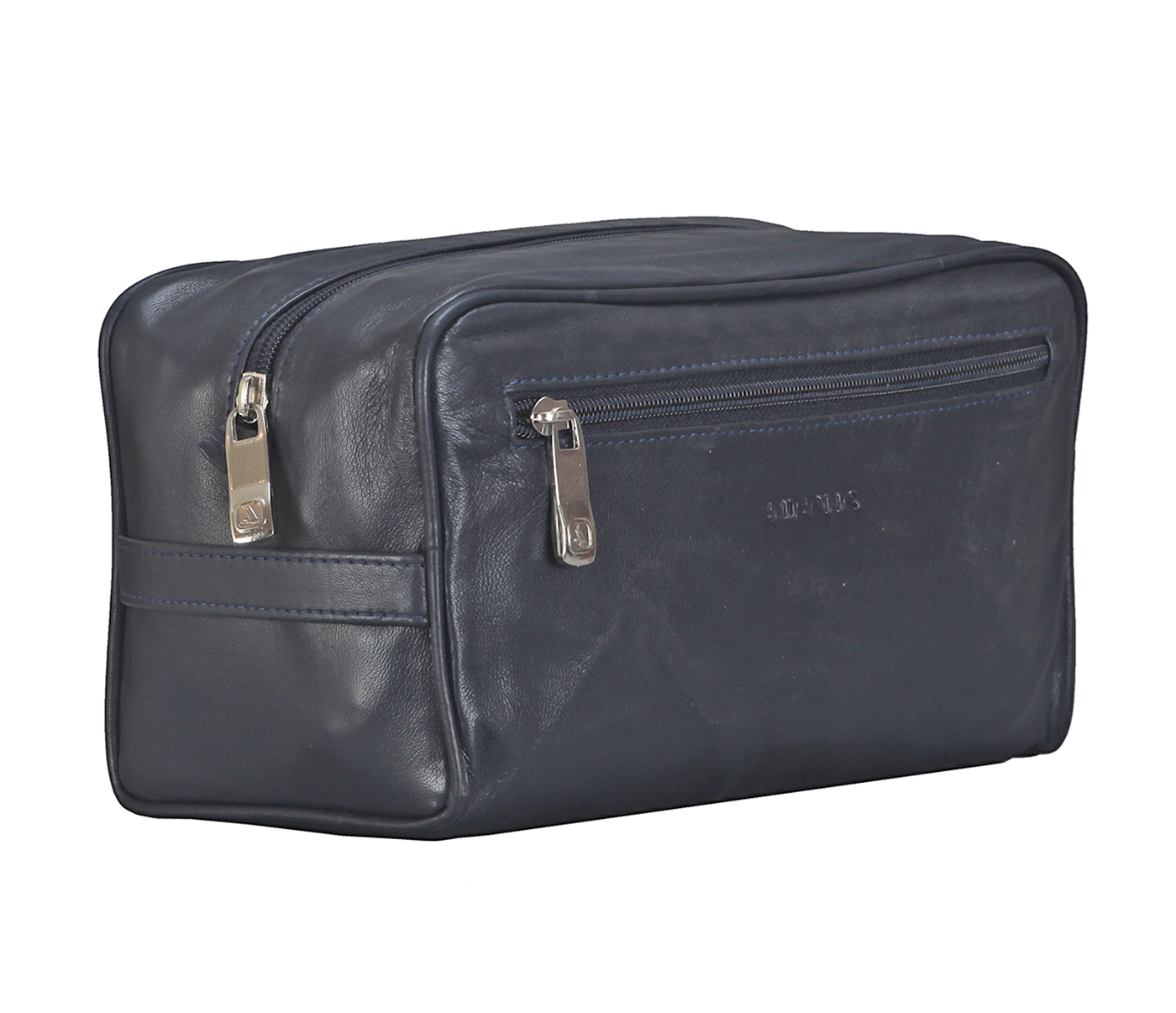 SC1--Unisex Wash & Toiletry travel Bag in Genuine Leather - Black