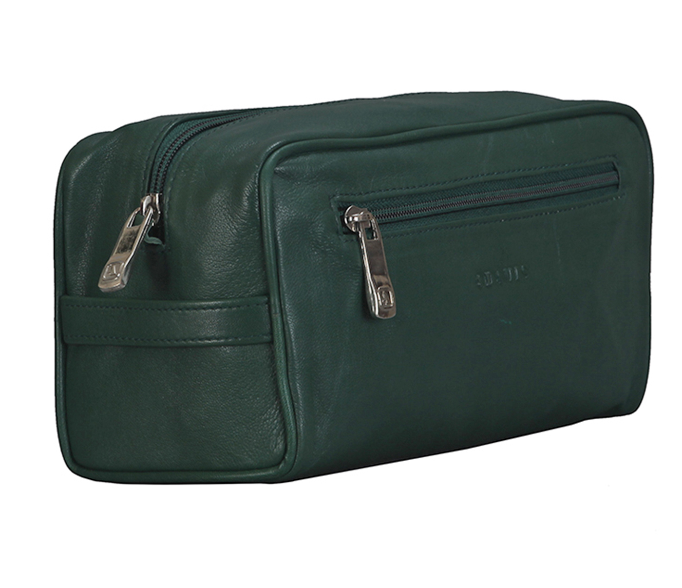 SC1--Unisex Wash & Toiletry travel Bag in Genuine Leather - Green