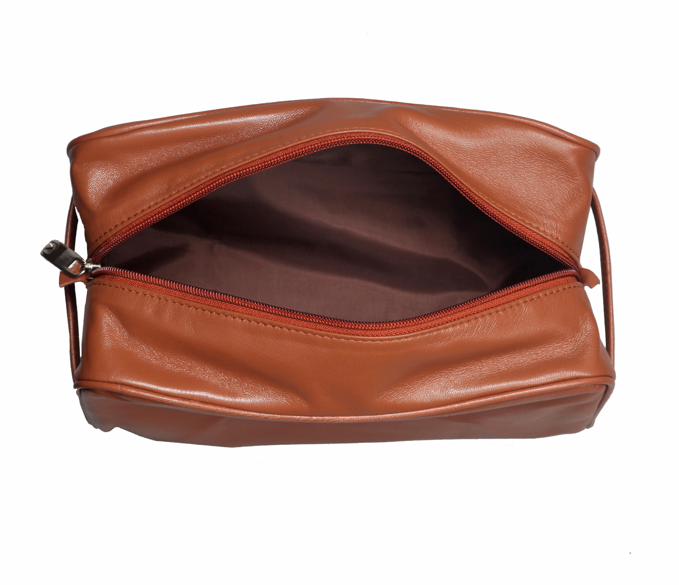 SC2--Unisex Wash & Toiletry travel Bag in Genuine Leather - Tan