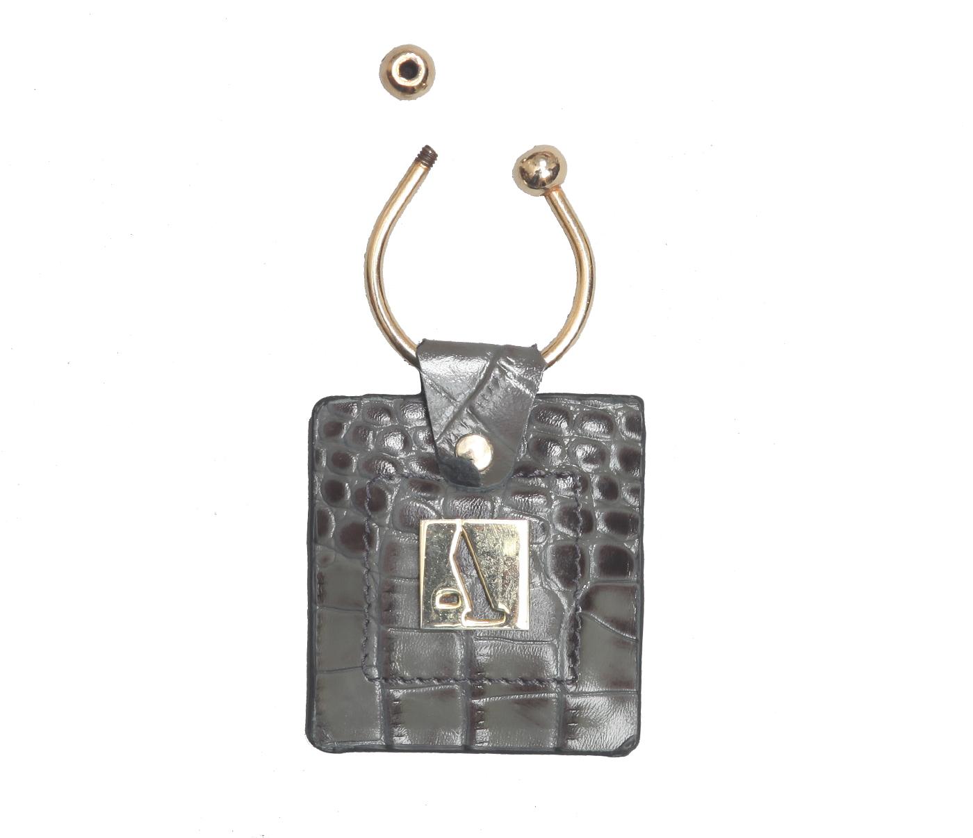 W269--Key holder with knob screw key fitting in Genuine Leather - Grey