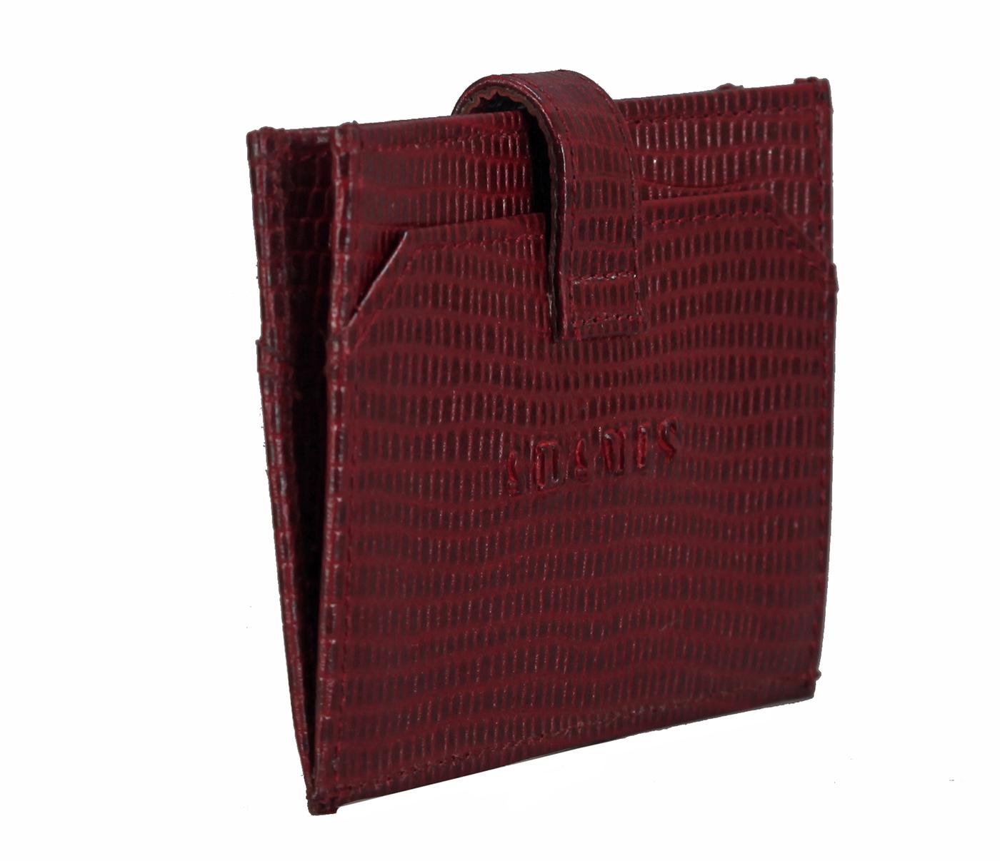 W272--Credit Card cum business card holder in Genuine leather - Wine/Black